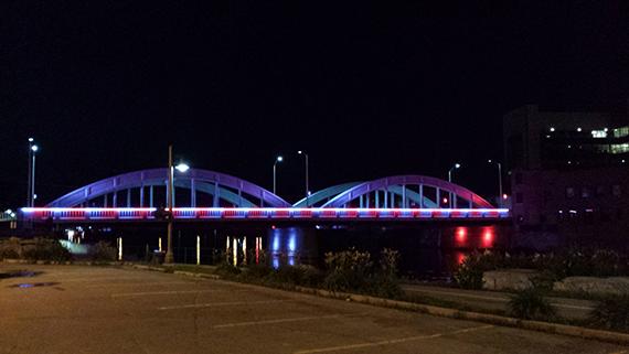 Bridge Street Bridge, lit up at night time